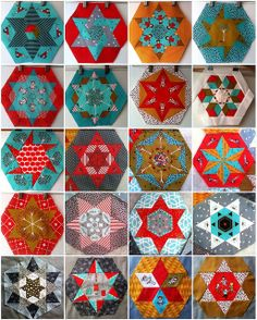 24 Little Apples Hexagons & Stars :: DEC 2011 by Lorena in Sydney, via… Quilting Tips, Quilting Projects, Hexagon Quilting, Patchwork Quilting, English Paper Piecing, Patch Quilt, Quilt Blocks, Star Blocks, Labor