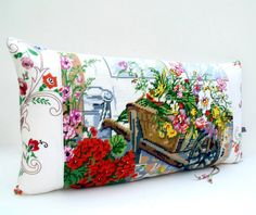 Unique Needlepoint Tapestry Floral Flower Barrow by Retrocollects £40