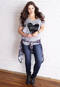high-low rebel heart plus size graphic tee - maurices.com