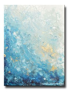 GICLEE PRINT Art Abstract Painting Ocean Blue White Seascape Coastal Large Canvas Prints Wall Art
