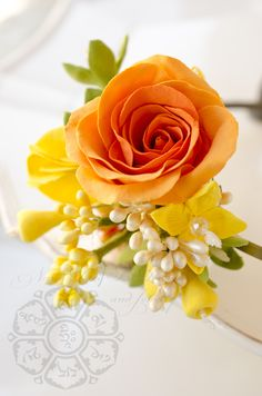 CLAY flowers - orange rose - Anaber style