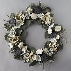 Check out Vintage Canvas Ivory Flower Green Leaves Wreath from Terrain Red Berry Wreath, Green Wreath, Floral Wreath, Wreath Hanger, Diy Wreath, Burlap Wreath, Door Wreaths, Wreath Ideas, Christmas Door Decorations