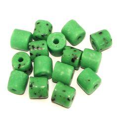 15 Antikperlen Röhrchen   Grün Schwarz Weiß   7mm *pe4528 - JAUL.biz Perlen und Glas