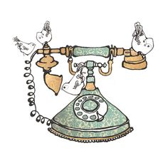 Vintage telephone and birds illustration