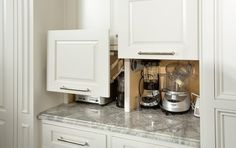 Built-in appliance cubby, slideshow with different ideas