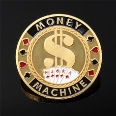 40*2.5mm Metal Poker Guard Card Protector Coin Chip Color Gold Plated With Round Plastic Case