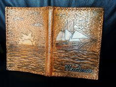 New hand tooled leather notepad cover by Gemslusleather - 159$ #tooledleather #Gemsplusleather #Gemsforall #cover #leather #leathercraft #handmade #diary #notepad #case #ship #sale #vessel #sea #seagull #sunset #sun #ocean #artisan #art