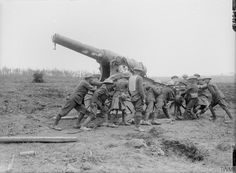 "Identified by the IWM as ""Captured 15 cm (150 mm) Ringkanone 92 German gun near Mametz Wood, 10th August 1916."" However, the 15cm Ringkanone M92 had a much longer barrel and a different carriage. This is more likely a Russian Obukhov 152mm (120 pood) Fortress Gun M77 on a siege carriage, captured by the Germans and put into use with Landwehr Fussartillerie units. (4 of 4 photos)"