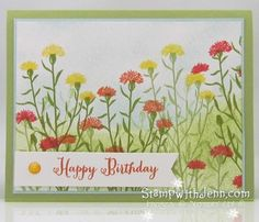 "I love the ""WILD ABOUT FLOWERS"" stamp set.  Made me want to create this meadow of flowers!  See my Field Flower video at https://youtu.be/QKqJGyDuIcA"
