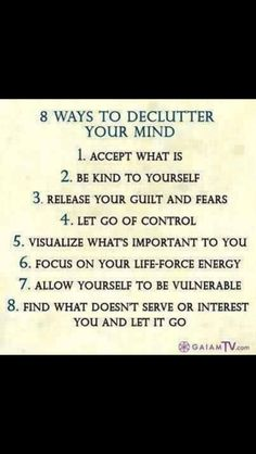 8 ways to declutter your mind and reduce stress Great Quotes, Quotes To Live By, Me Quotes, Inspirational Quotes, Yoga Quotes, Motivational, Mantra, Affirmations, Declutter Your Mind