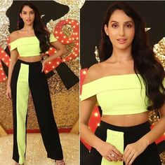Image may contain: one or more people and people standing 2 Piece Outfits, Stage Outfits, Sporty Outfits, Fashion Outfits, Beautiful Bollywood Actress, Beautiful Indian Actress, Bollywood Stars, Bollywood Fashion, Nora Lovely
