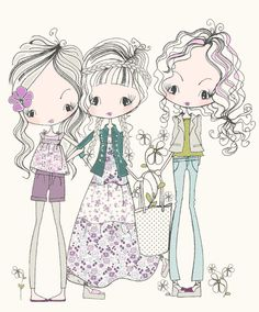 GIRLS All about surface pattern ,textiles and graphics: Girly doodles Art And Illustration, Illustrations, Start Of Winter, Cute Images, Copics, Surface Pattern, Doodle Art, Cute Art, Art Girl
