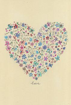 Corazon-Floral-love (Fondo de pantalla/Wallpaper)