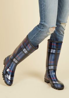 At Long Splash Plaid Rain Boots