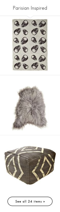 """""""Parisian Inspired"""" by calypsostbarth ❤ liked on Polyvore featuring home, bed & bath, bedding, blankets, biche, skull throw, skull throw blanket, fur blanket, skull bedding and fur blanket throw"""