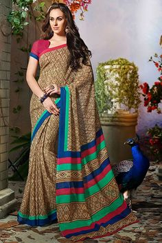 Brown art silk printed party wear saree with blouse at Easysarees.