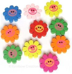 Rainbow Creations Wooden Sunflower Beads