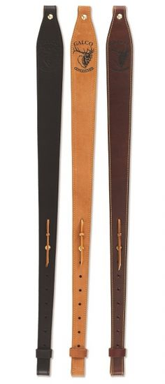 "Galco's RS9 rifle sling is not what you would generally find or expect in this price range. Our extensive sources of fine quality leathers have allowed us the ability to offer an assortment of rich colors and textures. For the discriminating rifleman who wants something a cut above the rest.   The RS9 Sling fits 1"" swivels and is available in tan rough-out, cordovan top grain, and black shrunken grain.   Max length 42"" Min length 29""  Width 2"""