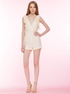 Cream Wrap Ruffle Romper Playsuit with Tie Back | Choies