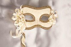 Venetian Masquerade Masks | Ivory Masquerade Wedding Masks on Sticks - BELLA
