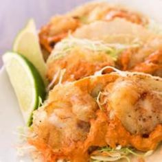 Mexican Getaway Menu, part 5: Fry a batch of cod cheeks for your best fish tacos ever! Sweet and tender like scallops, this overlooked part of the fish is double fried to maintain its crunch under a squeeze of lime and a drizzle of chili lime allioli. Fish Tacos With Chili Lime Allioli from @Marc Matsumoto of No Recipes, found at www.edamam.com