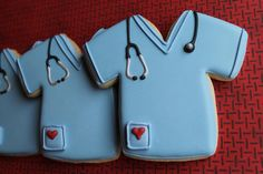Sugar Cookies With Blue Royal Icing Doctor Scrubs with Stethescope.