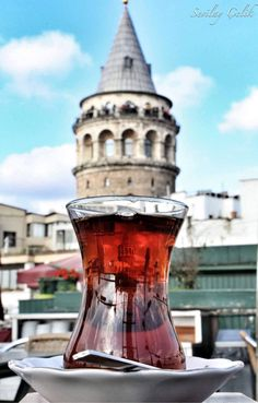 Reflection of the Galata Tower Istanbul / TURKEY