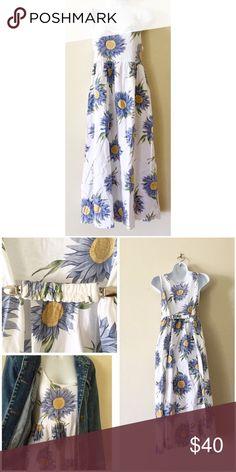 Vintage 90s blue Sunflower dress Vintage 90s blue sunflower babydoll dress. Sunflower tank dress. cotton tshirt material. Measurements are taken laying flat: armpit to armpit: length: Vintage Dresses Midi