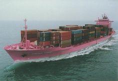 Pink cargo ship