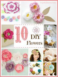 10 Beautiful DIY Flowers via Hopeful Honey