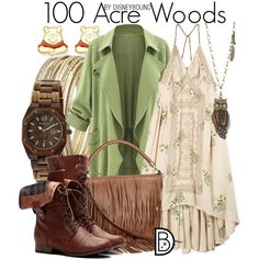 100 Acre Woods by leslieakay on Polyvore featuring Free People, H&M, Earth, Disney, Steve Madden, Aéropostale, disney, disneybound and disneycharacter