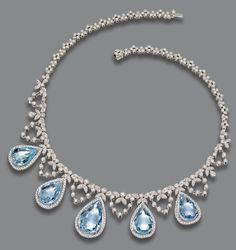 colar de AQUAMARINE e diamante