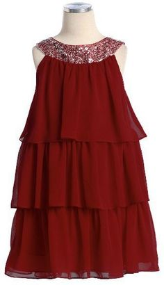Fun and flirty tiered girl's dress with silver sequined neckline.  Available in many colors and sizes!