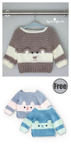 It's fun to crochet a sweet baby bear sweater for your little one with this Baby Bear Sweater Free Crochet Pattern. # free crochet patterns for baby dresses Baby Bear Sweater Free Crochet Pattern Crochet Baby Jacket, Crochet Baby Sweaters, Crochet Baby Boots, Bag Crochet, Crochet For Boys, Free Crochet, Crochet Baby Stuff, Crochet Baby Clothes Boy, Crochet Gifts
