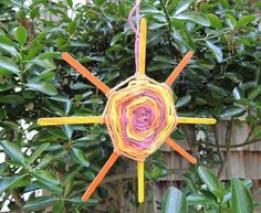 """Welcome Summer on the Solstice with a """"God's Eye"""" sun yarn weaving"""
