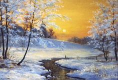 надвечірья - Тарасенко Олексій Painting Snow, Winter Painting, Painting & Drawing, Watercolor Artists, Watercolor Paintings, Landscape Art, Landscape Paintings, Winter Scenery, Christmas Pictures