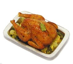 Dollhouse Miniature Roasted Chicken on A Cooking Tray Handmade 1 12 Scale   eBay