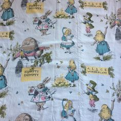 Vintage Alice In Wonderland Humpty Dumpty Curtains Fabric Indian Head Mills 1960