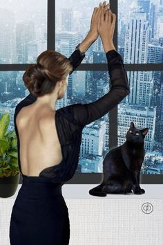 Snowed In  #photocollage #snowy #photo art #collage #instart #nyc #newyorkcity #highrise #winter #cat #fashionmeetsart #backless #littleblackdress #bazaart #blizzard #cancelled #weekend #photomanipulation