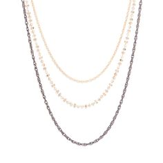 """BROOKLYN NECKLACE - Brooklyn combines all that we love in gold, hematite and CZ sparkle, into one uniquely bold package. This long, triple stand necklace adds a little glamorous shimmer to bohemian flair. Brooklyn is a perfectly confident addition to nighttime attire, and works just as well 9 to 5.   - Gold tone, hematite chains, CZ's - 36"""" long with 3"""" extender - Lobster clasp $50.00 www.michell.kitsylane.com"""