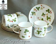 Your place to buy and sell all things handmade Etsy Vintage, Vintage Shops, Vintage Tableware, Wild Strawberries, Wedgwood, Cut Glass, Coffee Cans, Vintage Silver, Pink Flowers