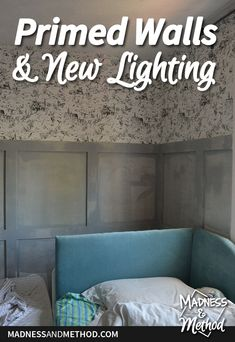 This kids bedroom makeover is coming along nicely. Today's post is all about the new light and primed walls - getting ready for the reveal! Closet Nook, Neat And Tidy, Flush Mount Lighting, Painting Edges, Wainscoting, Cubbies, Kids Bedroom, Bed Pillows, Walls