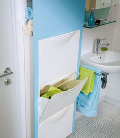 Ikea Tron Storage in the Bathroom - like a built-in College Bathroom Decor, Diy Bathroom, Bathroom Hacks, Bathroom Furniture, Trones Ikea Hack, Ikea Hackers, Built In Storage, Home Organization, Interior Design Living Room