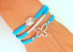 String Friendship Bracelets with Silver Metal Connector Silver Beads Turquoise Thread - Three Macrame Bracelets