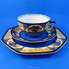 """Stunning Cobalt Blue """"Melody"""" Wedgwood Tea Cup, Saucer and Plate Trio Set 
