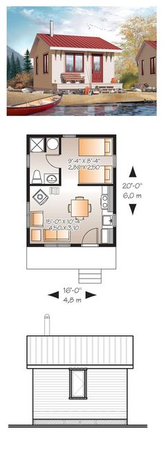 Tiny House Plan 76163 | Total Living Area: 320 sq. ft., 1 bedroom and 1 bathroom. #tinyhouse:
