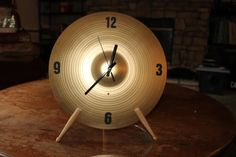 FanScape Don C. clock Made from Hi-hat cymbal and drumsticks