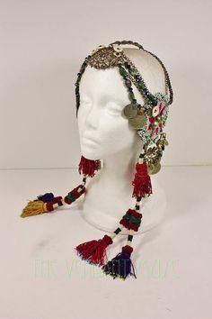 Tribal Fusion Headdress Magenta Gul Medallion Cut Steel Raw