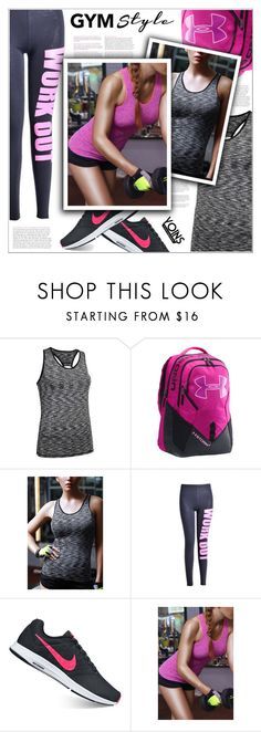 """Yoins"" by shambala-379 ❤ liked on Polyvore featuring Under Armour, NIKE, yoins, yoinscollection, loveyoins and gymessentials"