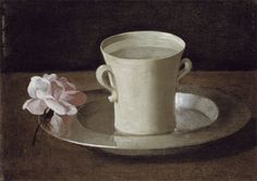 a cup of water and a rose  Francisco de Zurbarán